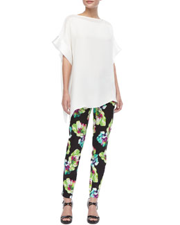Lafayette 148 New York Kareena Silk Top & Floral-Print Straight-Leg Pants