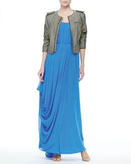 Alice + Olivia Front-Zip Leather Jacket & Waldorf Strapless Maxi Dress