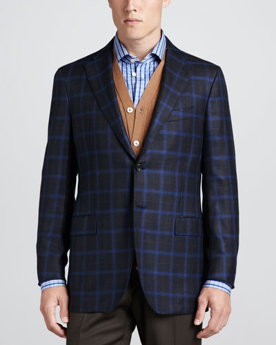 Kiton Plaid Cashmere Sport Coat, Cardigan Vest & Check Poplin Dress Shirt