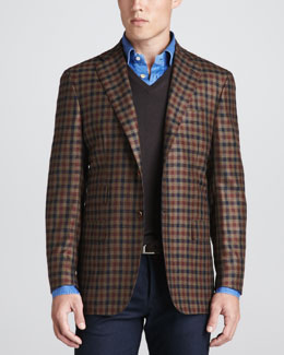 Kiton Two-Button Check Blazer, V-Neck Pullover Sweater & Chambray Dress Shirt