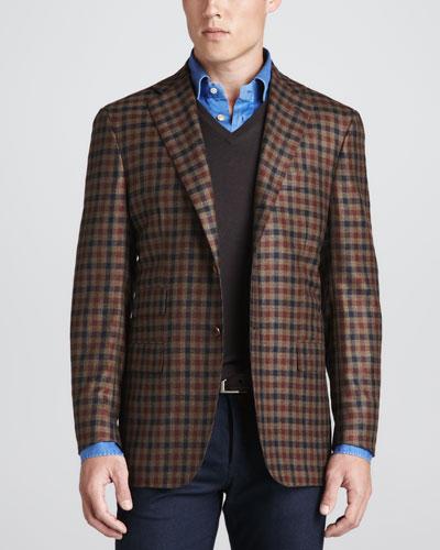 Kiton Two-Button Check Blazer, V-Neck Pullover Sweater & Chambray Dress Shirt