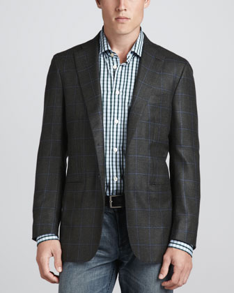 Two-Button Windowpane Blazer & Check Sport Shirt