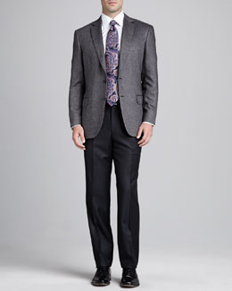 Brioni Tic-Weave Sport Coat, Flannel Flat-Front Pants & Antique-Paisley Silk Tie