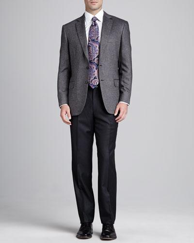 Brioni Tic-Weave Sport Coat, Flannel Flat-Front Pants & Antique-Paisley Silk Tie