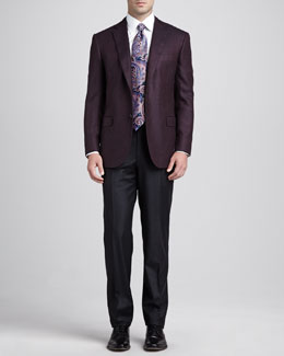Brioni Darted Two-Button Blazer, Basic Dress Shirt, Antique-Paisley Silk Tie & Flannel Flat-Front Pants