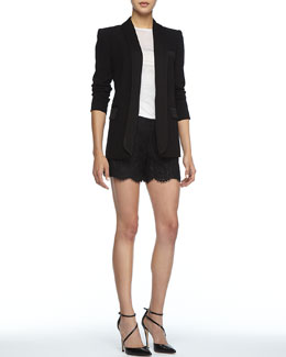 Alice + Olivia Long Crepe Tuxedo Blazer, Sleeveless Slub Tee & Scalloped Lace Shorts