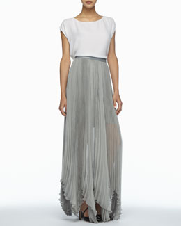 Alice + Olivia Layered Boxy Silk Tee & Ava Leather-Waist Pleated Maxi Skirt