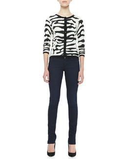 Alice + Olivia Knit Zebra Cardigan & Two-Button Dark Skinny Jeans