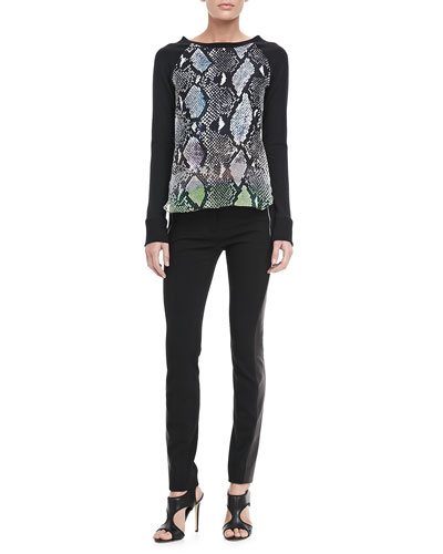 Diane von Furstenberg Lisha Python Front Blouse & Leah Leather Leggings
