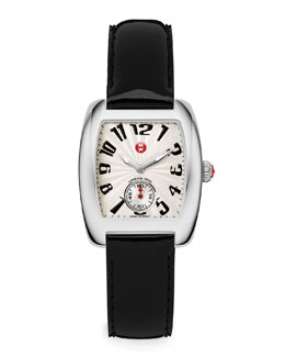 MICHELE Urban Mini Watch Head & Black Patent Strap