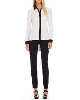 MICHAEL KORS  Two-Tone Hi-Lo Blouse & Slim Tuxedo Pants