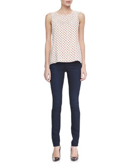 Alice + Olivia Trina Heart Bow Tank & Two-Button Dark Skinny Jeans