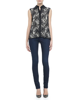 Alice + Olivia Lace Button Down Top & Two-Button Dark Skinny Jeans