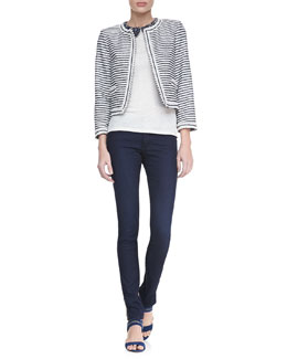 Alice + Olivia Olympia Peter Pan Top/Kidman Horizontal Striped Jacket & Two-Button Dark Skinny Jeans