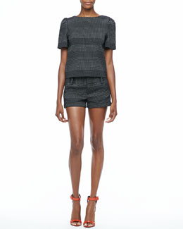 Alice + Olivia Boxy Dot-Print Top & Dot-Print Cuffed Shorts