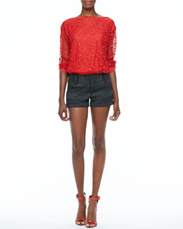 Alice + Olivia Brody Lace Sweatshirt & Dot-Print Cuffed Shorts