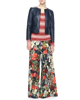 Alice + Olivia Cropped Quilted Leather Jacket, Ethan Ombre-Stripe Sweater & Super-Flare Floral-Print Pants