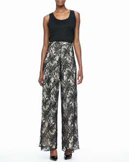 Alice + Olivia Double-Layer Sleeveless Top & Super-Flare Lace Pants