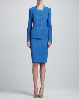 St. John Double-Breasted Knit Jacket, Pencil Skirt & Rib Scoop-Neck Shell