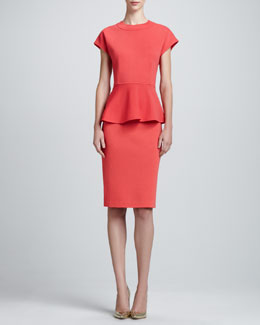 St. John Milano Knit Cap-Sleeve Peplum Top & Pencil Skirt