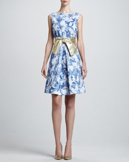 St. John Collection Sleeveless Abstract-Print Dress & Metallic Leather Wide Tie Belt