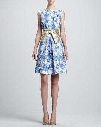 Sleeveless Abstract-Print Dress & Metallic Leather Wide Tie Belt