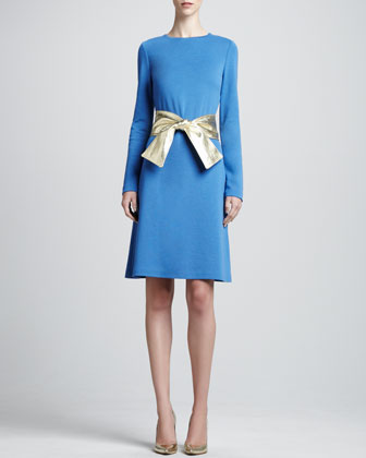 Long-Sleeve Milano A-Line Dress & Metallic Leather Wide Tie Belt