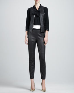 St. John Collection Milano Knit Jacket with Leather, Long-Sleeve Stretch Silk Blouse & Luxe Leather-Front Knit-Back Pants