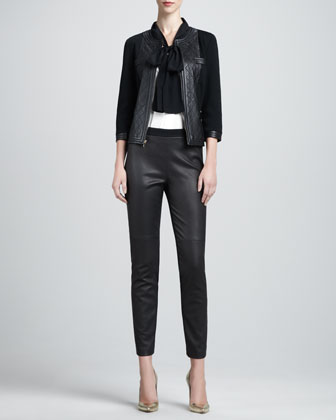 Milano Knit Jacket with Leather, Long-Sleeve Stretch Silk Blouse & Luxe ...