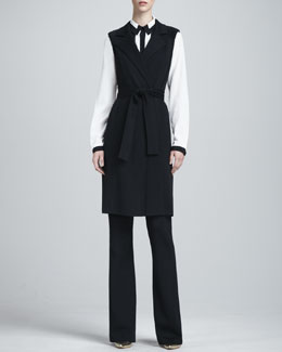 St. John Collection Sleeveless Milano Maxi Vest, Long-Sleeve Contrast-Trim Blouse & Kasia Milano Boot-Cut Pants