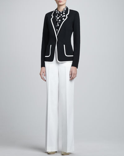 St. John Collection Contrast-Trim Milano Blazer, Sleeveless Dot-Print Charmeuse Top & Diana Stretch Wide-Leg Pants
