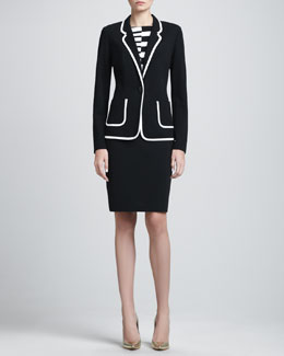 St. John Collection Contrast-Trim Milano Blazer & Sleeveless Asymmetric-Striped Dress