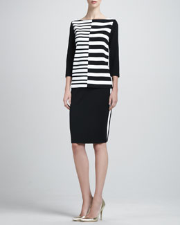 St. John Collection Asymmetric-Striped Bateau Neck Tunic & Side-Striped Pencil Skirt
