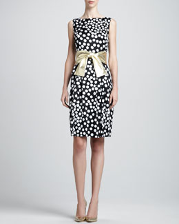 St. John Collection Sleeveless Dot-Print Bateau Dress & Metallic Leather Wide Tie Belt