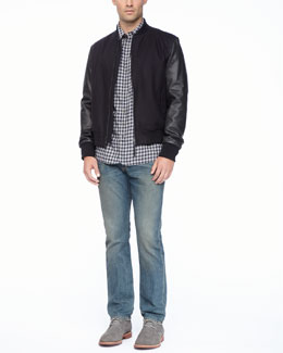 Rag & Bone Leather-Sleeved Boston Bomber Jacket, 3/4-Placket Long-Sleeve Shirt & Indigo Wash Denim Jeans
