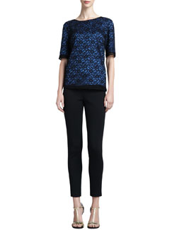 St. John Collection Floral Lace Jewel-Neck Top & Milano Knit Alexa Slim Ankle Pants