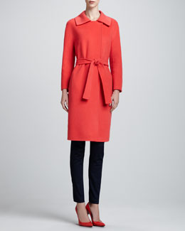 St. John Wool/Cashmere Dolman-Sleeve Coat & Elastic-Waist Denim Leggings