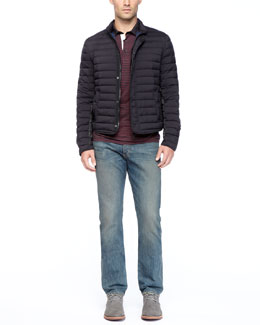 Rag & Bone Chelsea Quilted Jacket & Indigo Wash Denim Jeans