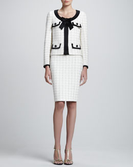 St. John Collection Gold Cord Plaid Knit Jacket and Pencil Skirt