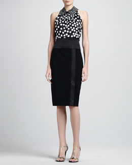 St. John Collection Sleeveless Burnout Trapeze Top & High-Waist Pencil Skirt