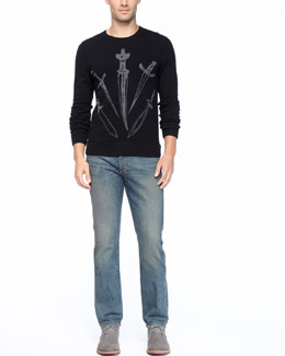 Rag & Bone Big Dagger Crew Sweater & Indigo Wash Denim Jeans