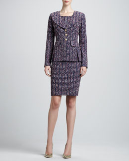 St. John Collection Deco Dash Tweed Knit Jacket and Scoop-Neck Sheath Dress