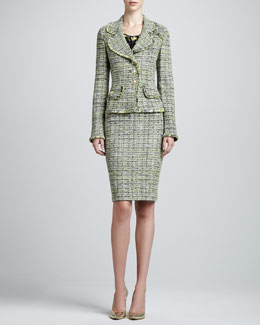 St. John Collection Layered Leaves Tweed Jacket, Pencil Skirt & Layered Scoop-Neck Blouse