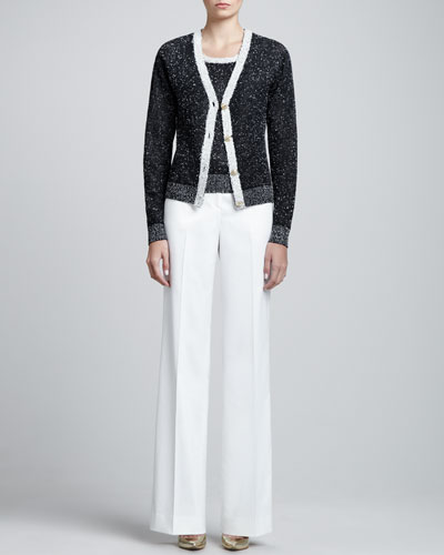 St. John Collection Bird's Eye Knit Scoop-Neck Cardigan, Shell & Diana Stretch Wide-Leg Pants