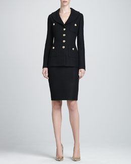 St. John Collection Domino Shawl-Collar Jacket & Knit Pencil Skirt