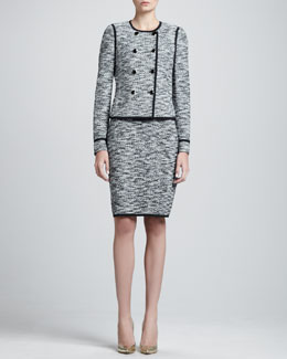 St. John Collection Fleck Tweed Double-Breasted Jacket & Sleeveless Shift Dress
