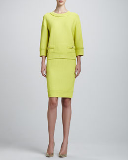 St. John Collection Linked Grid Sweater & Pencil Skirt