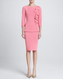 St. John Milano Bateau-Neck 3/4-Sleeve Top & Milano Knit Pencil Skirt