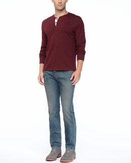 Rag & Bone Basic Long-Sleeve Henley & Indigo Wash Denim Jeans
