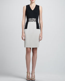 St. John Collection Sleeveless Milano Colorblock Dress & Crystal Duchesse Belt with Elastic